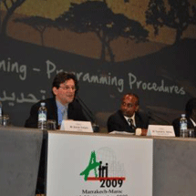 "Xavier Crepin of Isted (left) and Tewodros Tigabu (right), Cities Alliance Regional Adviser for East and Central Africa, moderate the Cities Alliance session on ""Defining Planning Programming Processes"