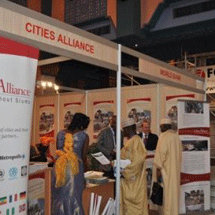 The Cities Alliance booth, hosted in partnership with the World Bank, was heavily visited during the summit.