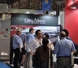 Visitors to the Cities Alliance booth at WUF 5.