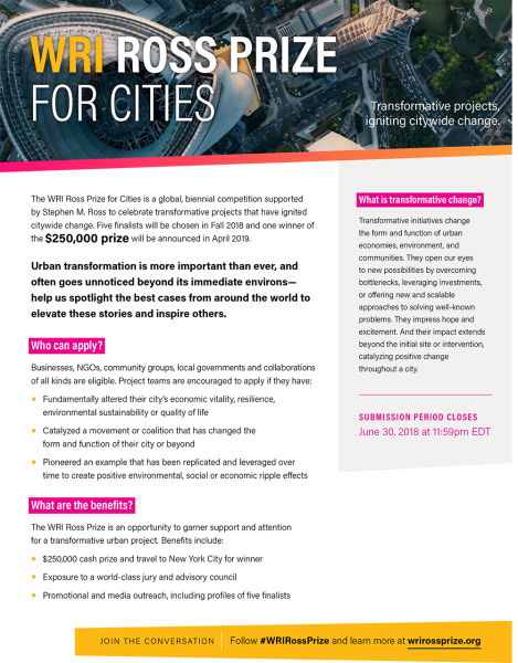 The Inaugural WRI Ross Prize for Cities Accepting Submissions until