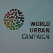 The new logo for the World Urban Campaign was unveiled at the launch in Rio.