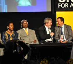 From right: UN-HABITAT Executive Director Anna Tibaijuka, President of Uganda Yoweri Museveni, and Brazilian President Luiz Ignacio Lula da Silva.