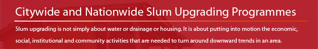 Citywide and nationwide slum upgrading programmes