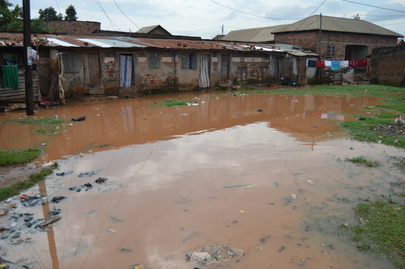 Rental units cut off by flooded compound in Bwaise. Photo Credit; TAU.JPG