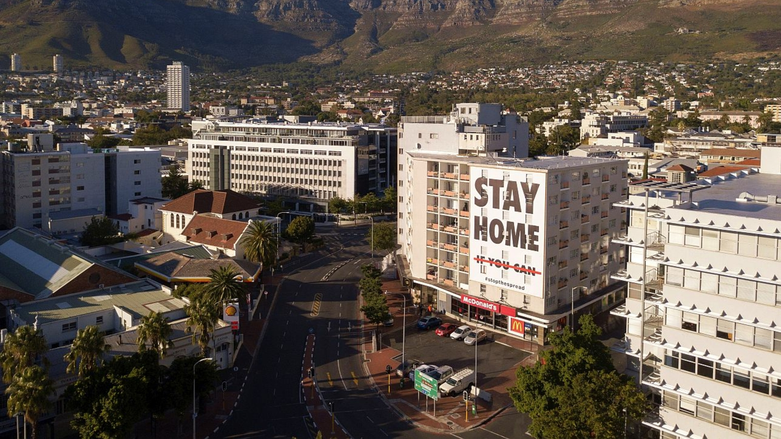 aerial view Cape Town, during the lockdown